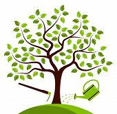 image of hoe  - vector tree with hoe and watering can isolated on white background - JPG