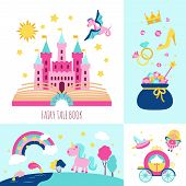 stock photo of fairies  - Fairy tale book concept with magic fantasy cartoon characters icons set isolated vector illustration - JPG