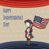 image of national costume  - Patriotic USA background with Cartoon man celebrating Independence Day wearing a national costume and holding a flag - JPG