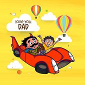 picture of special day  - Father and Son enjoying car ride in the sky with hot air balloons - JPG