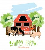 pic of farm  - colorful illustration with animals from the farm cow - JPG