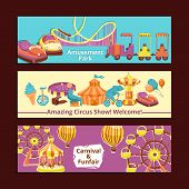 image of amusement park rides  - Amusement park circus show and carnival horizontal banners set isolated vector illustration - JPG