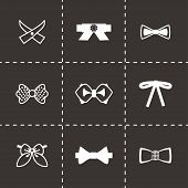 picture of tied  - Vector Bow ties icon set on black background - JPG