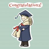 pic of graduation  - Cartoon graduating man with diploma with red ribbon - JPG