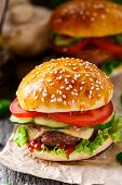 picture of beef-burger  - Beef burger with cheese - JPG