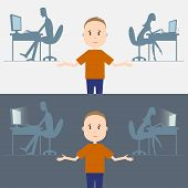 pic of addicted  - Vector illustration of computer addiction in family - JPG