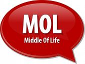 picture of lice  - word speech bubble illustration of business acronym term MOL Middle of Life - JPG