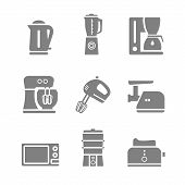 picture of household  - Household kitchen appliances vector silhouette isolated 9 items s icon set and symbols - JPG