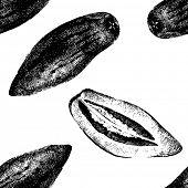 picture of melon  - Hand drawn pepino melon seamless pattern - JPG