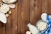foto of milk products  - Dairy products on wooden table - JPG