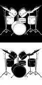 stock photo of drum-set  - vector illustration drum set black and white with shadow - JPG
