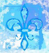 image of fleur de lis  - Fleur de lis digital painting in blue spectrum - JPG