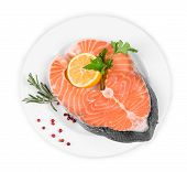 pic of salmon steak  - fresh salmon steak - JPG