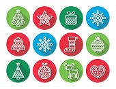 picture of rudolf  - Vector round icons set for celebrating Xmas isolated on white - JPG