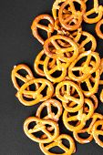 pic of pretzels  - food pretzel bread salty salt tasty brown snack - JPG