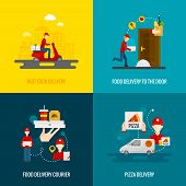 picture of door  - Food delivery fast to the door and by courier flat icons set isolated vector illustration - JPG