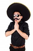 picture of sombrero  - Funny man wearing mexican sombrero hat isolated on white - JPG