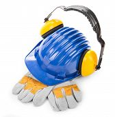 image of muff  - Hard hat ear muffs and gloves - JPG