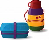 stock photo of lunch box  - Lunch Box and Water Bottle isolated on white background - JPG