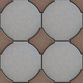image of paving  - Gray and Brown Paving in Form of a Circle and Squares - JPG
