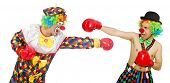 image of clowns  - Clown with boxing gloves isolated on the white - JPG