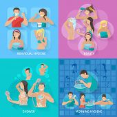 stock photo of personal hygiene  - Hygiene design concept set with beauty and shower flat icons isolated vector illustration - JPG