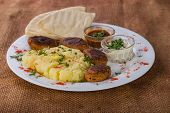 foto of kababs  - French  with meat on a plate - JPG
