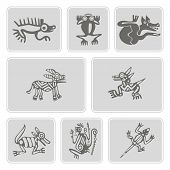 Постер, плакат: set of monochrome icons with American Indians relics dingbats characters part 7