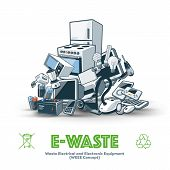 image of waste management  - The waste electrical and electronic equipment pile - JPG