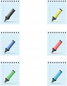 picture of marker pen  - Notepad with different colored marker pens - JPG