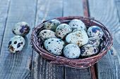 image of quail egg  - quail eggs in the nest and on a table - JPG