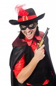 pic of zorro  - Young man in carnival coat with gun isolated on white - JPG