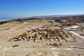 pic of masada  - View on the ruins of the zealot fortress Masada the Dead sea on background - JPG