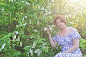 stock photo of denude  - An adult woman near blossoming bird cherry in the park - JPG