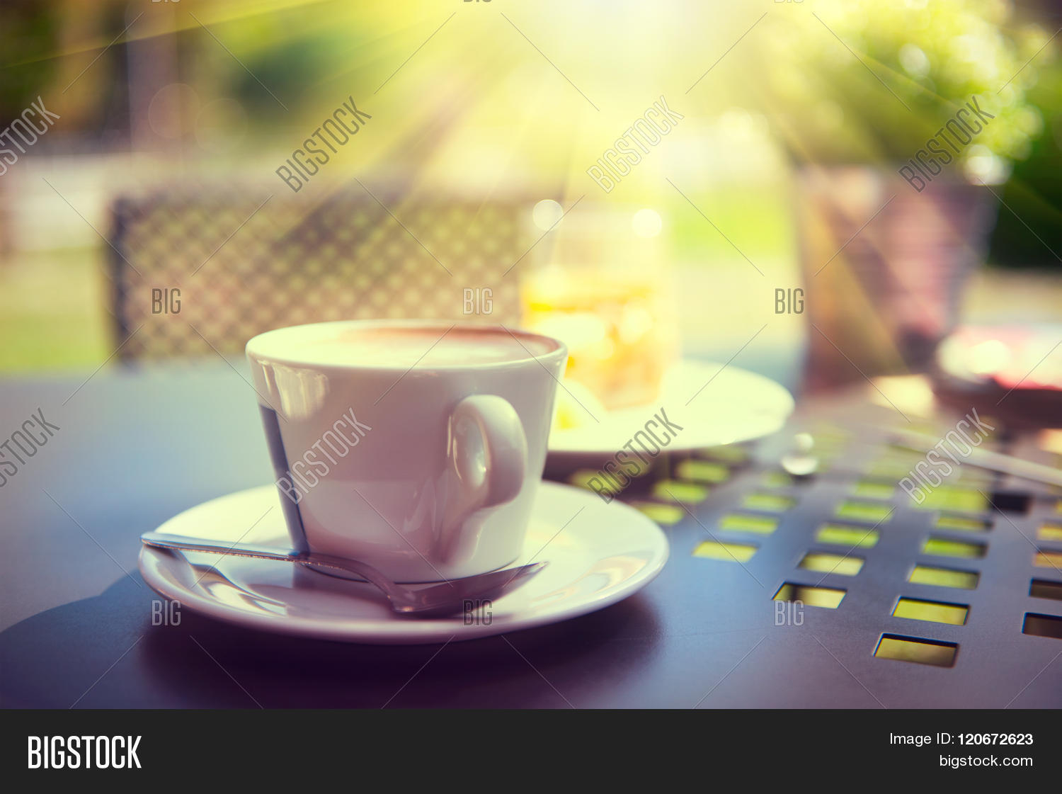 Morning coffee on terrace cup image photo bigstock morning coffee on the terrace cup of espresso on the table in sun light geotapseo Gallery