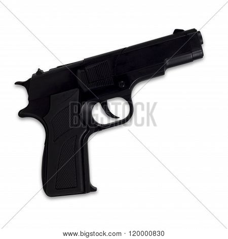 Black Semi-automatic Gun Isolated On White Background