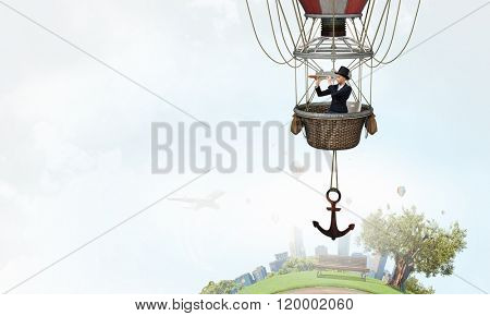 Woman traveling in aerostat