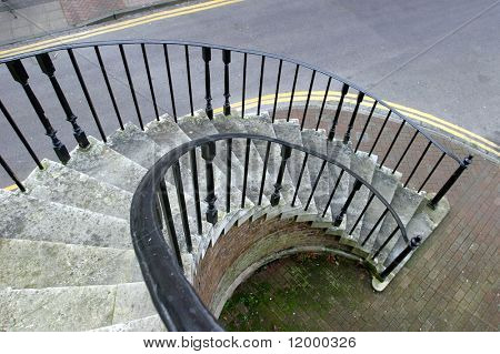 Spiral Stairway with oranamental wrought iron railings. Poole, Dorset,1761