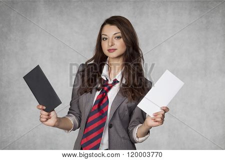 Portrait Of A Business Woman With Bribery