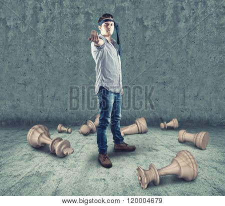 Young Teenager Breaks Chess Pieces