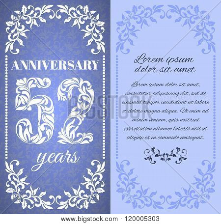 Luxury Template With Floral Frame And A Decorative Pattern For The 52 Years Anniversary. There Is A