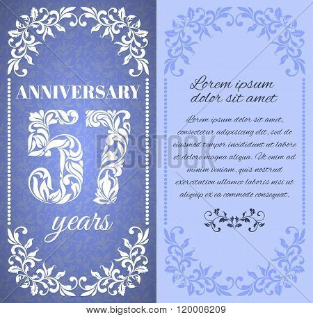Luxury Template With Floral Frame And A Decorative Pattern For The 57 Years Anniversary. There Is A