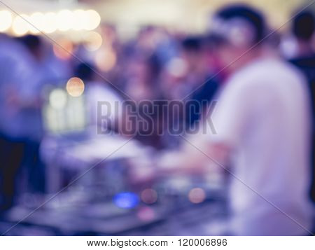 Dj At Turntable Music Party Event Blur Background
