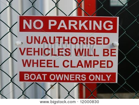Sign, No Parking __ Wheel Clamping