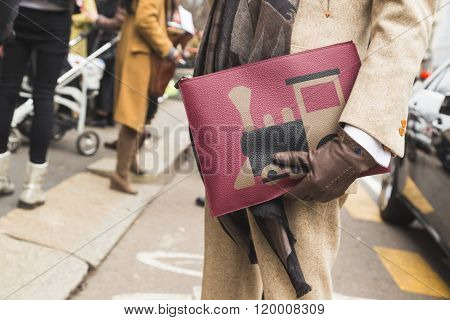 MILAN ITALY - FEBRUARY 25: Detail of bag outside Luisa Beccaria fashion show building for Milan Women's Fashion Week on FEBRUARY 25, 2016 in Milan.