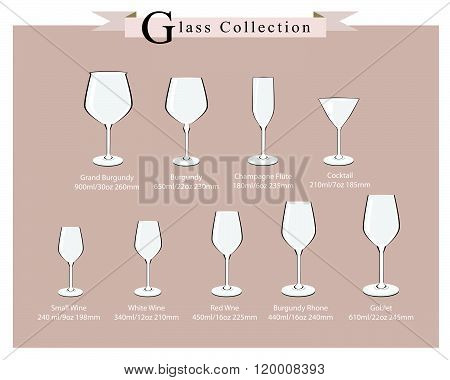 Detailed Illustration of Cocktail and Wine Glasses Diagram