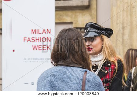 MILAN ITALY - FEBRUARY 25: Fashionable woman spotted outside Luisa Beccaria fashion show building for Milan Women's Fashion Week on FEBRUARY 25 2016 in Milan.