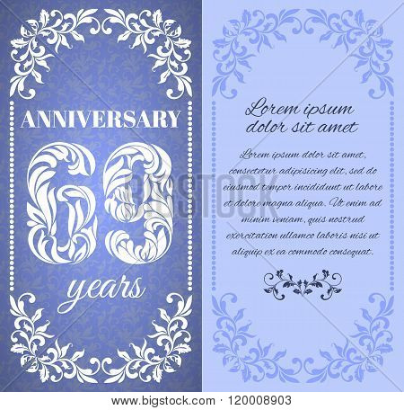 Luxury Template With Floral Frame And A Decorative Pattern For The 69 Years Anniversary. There Is A