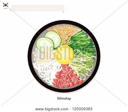 Bibimbap Or Korean Mixed Rice With Meat, Vegetables And Egg
