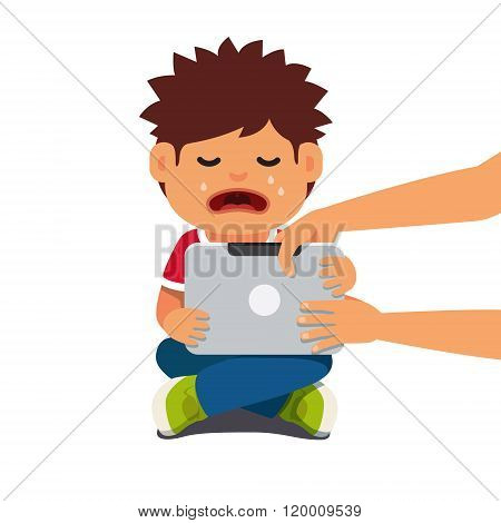Computer addicted child holding out tablet pc